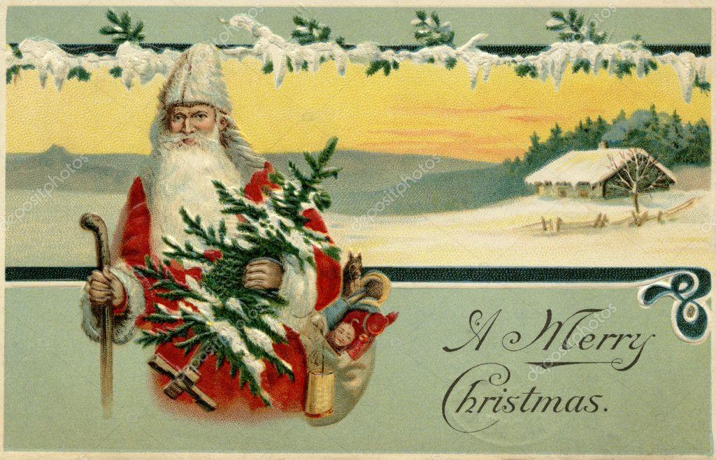 Immagini Babbo Natale Vintage.Cartolina Di Natale Vintage Di Babbo Natale In Una Scena