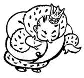 černobílá verze kreslený styl kreslení regal krále