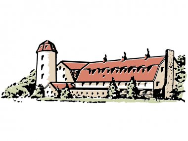 A large farm house and silo