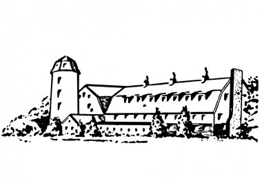 A black and white version of a large farm house and silo