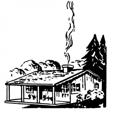 A black and white version of a small farm house with a smoking chimney