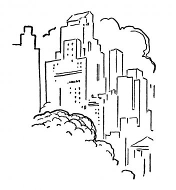 A black and white version of a cluttered city sky line