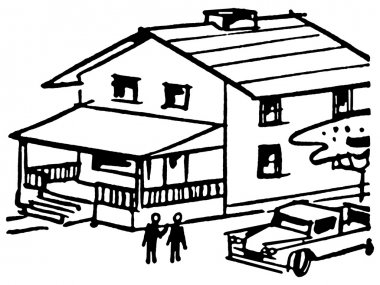 A black and white version of an illustration of a home with a Ute in the driveway