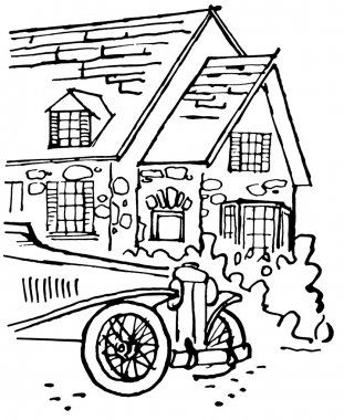 A black and white version of an illustration of a home with an old fashioned car in the foreground