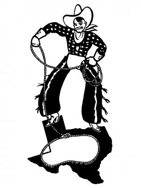 A black and white version of a cartoon style drawing of a cowboy