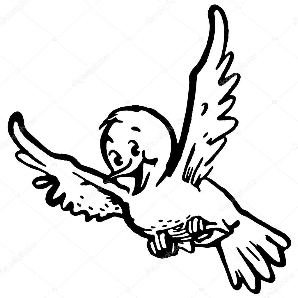 eine schwarz wei version von ein gl cklich aussehende vogel fliegen stockfoto sparkstudio. Black Bedroom Furniture Sets. Home Design Ideas