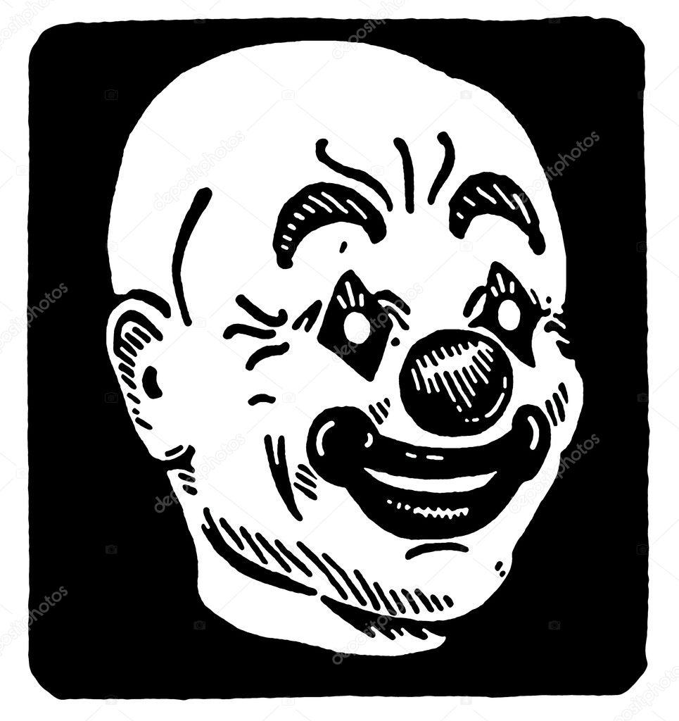 Siyah Beyaz Versiyonu Bir Palyaço Kafası Görülmektedir Bir Siyah