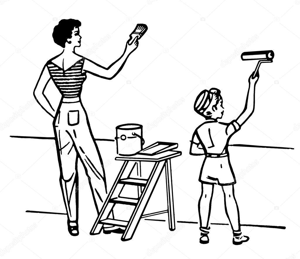 Anne Ve çocuk Boyama Duvar Birlikte Siyah Beyaz Versiyonu Stok