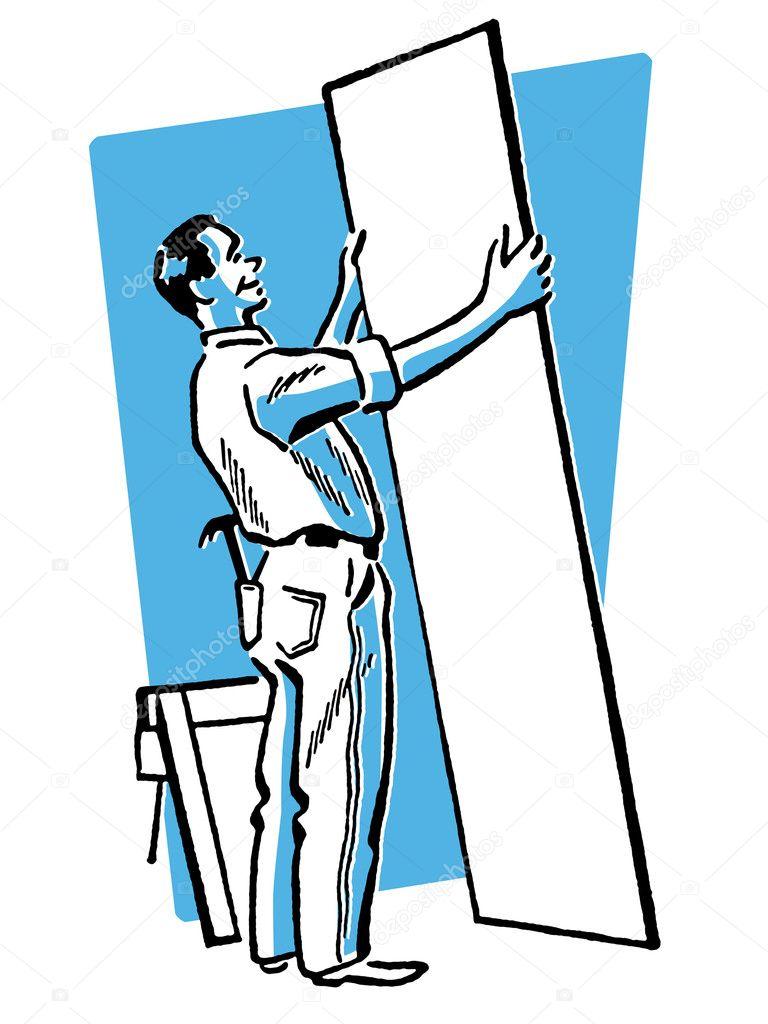 Bauarbeiter schwarz weiß  schwarz-weiß-Version von altem Zeichnung der Bauarbeiter ...