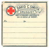 A vintage medicine label from a drug store