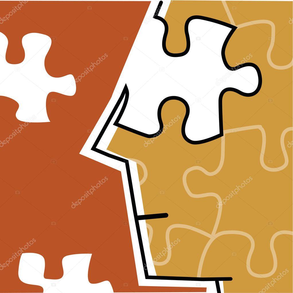 unvollständige Puzzle menschlichen Gesichts — Stockfoto ...