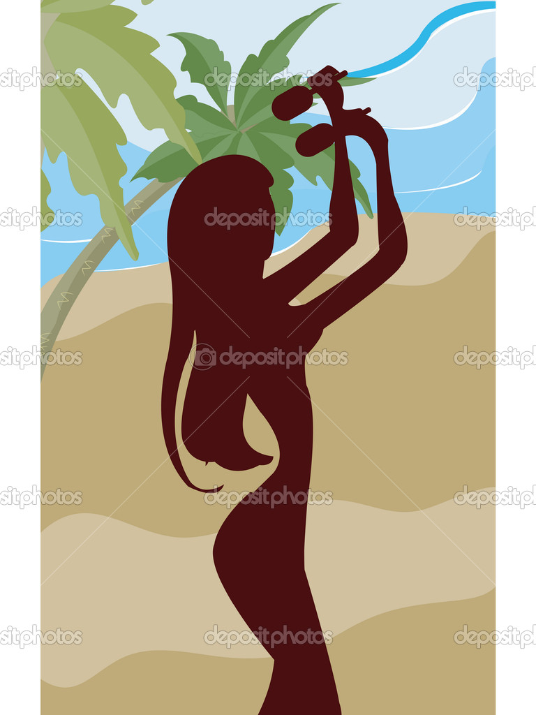 A silhouette of a woman playing the maracas