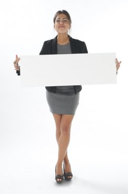 Woman showing great promotion, with horizontal sign