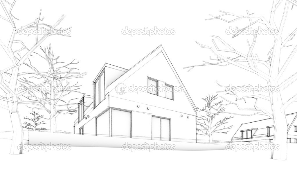 Sketch Of Modern House On Hill Situation Stock Photo 11813386