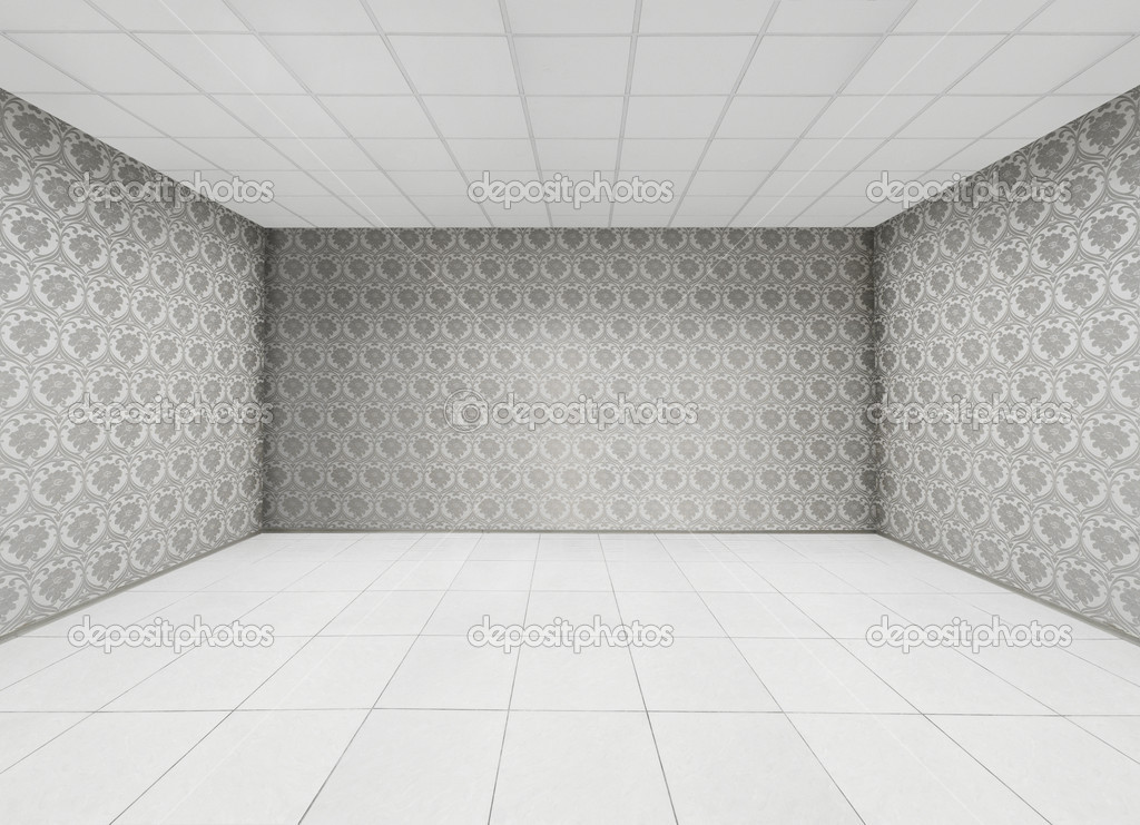Empty Room Floral Wallpaper On The Wall Stock Photo
