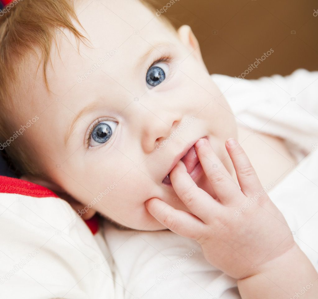 cute little baby girl with big blue eyes — stock photo