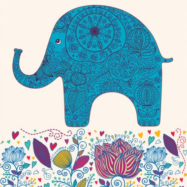 Holiday card with elephant