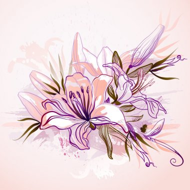 Decorative composition with big drawing lilies
