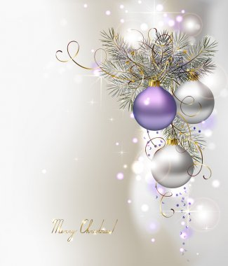 Light Christmas background with three evening balls clip art vector