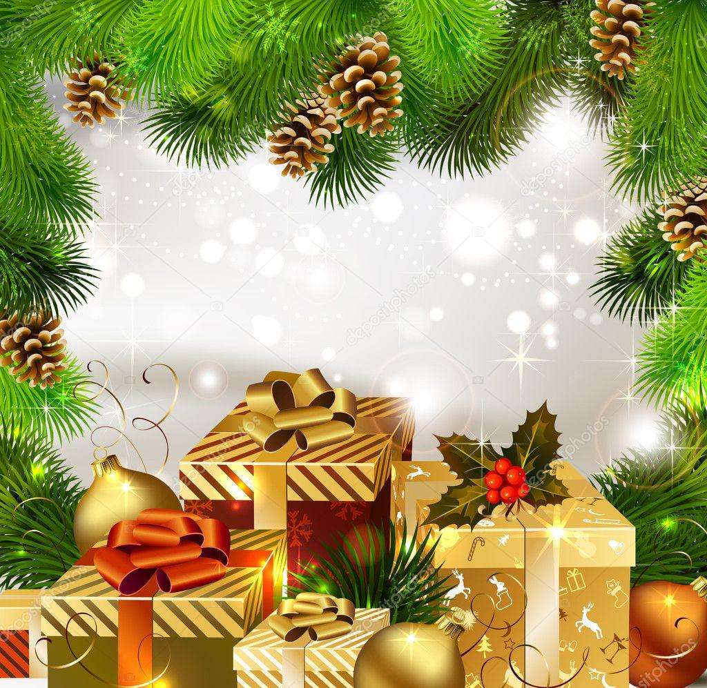Открытка на новый год и рождество 2017