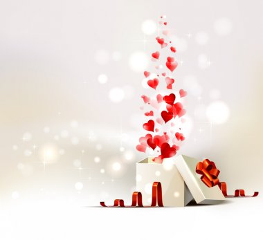Background with opening gift of Valentine's day clip art vector