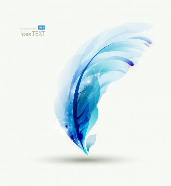 One Abstract blue writing feather
