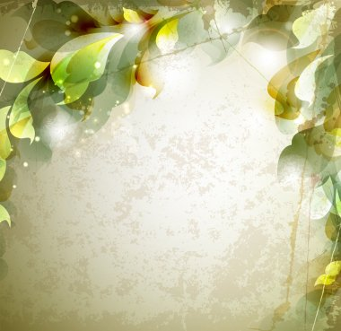 Scrap background with abstract leaves clip art vector