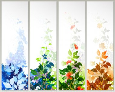 Raster version of Set of four season banners clip art vector