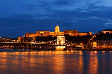 The Royal palace and the Chain bridge in sunset, Budapest