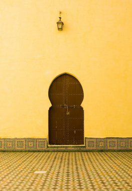Door in the mausoleum of Moulay Ismail at Meknes, Morocco.
