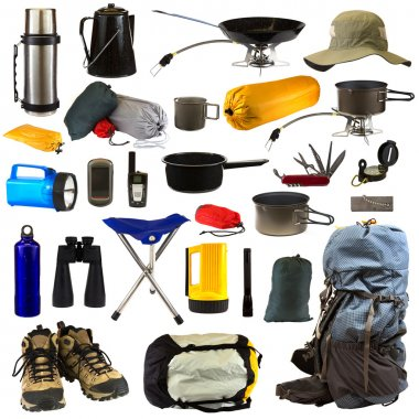 Camping gear collage isolated on white background depicting a thermos, coffee pot, frying pan sitting on stove, hat, bags of camping equipment, stainless steel mug, pot sitting on stove, blue flashlight, GPS, walkie talkie, pot, Swiss army knife, com stock vector