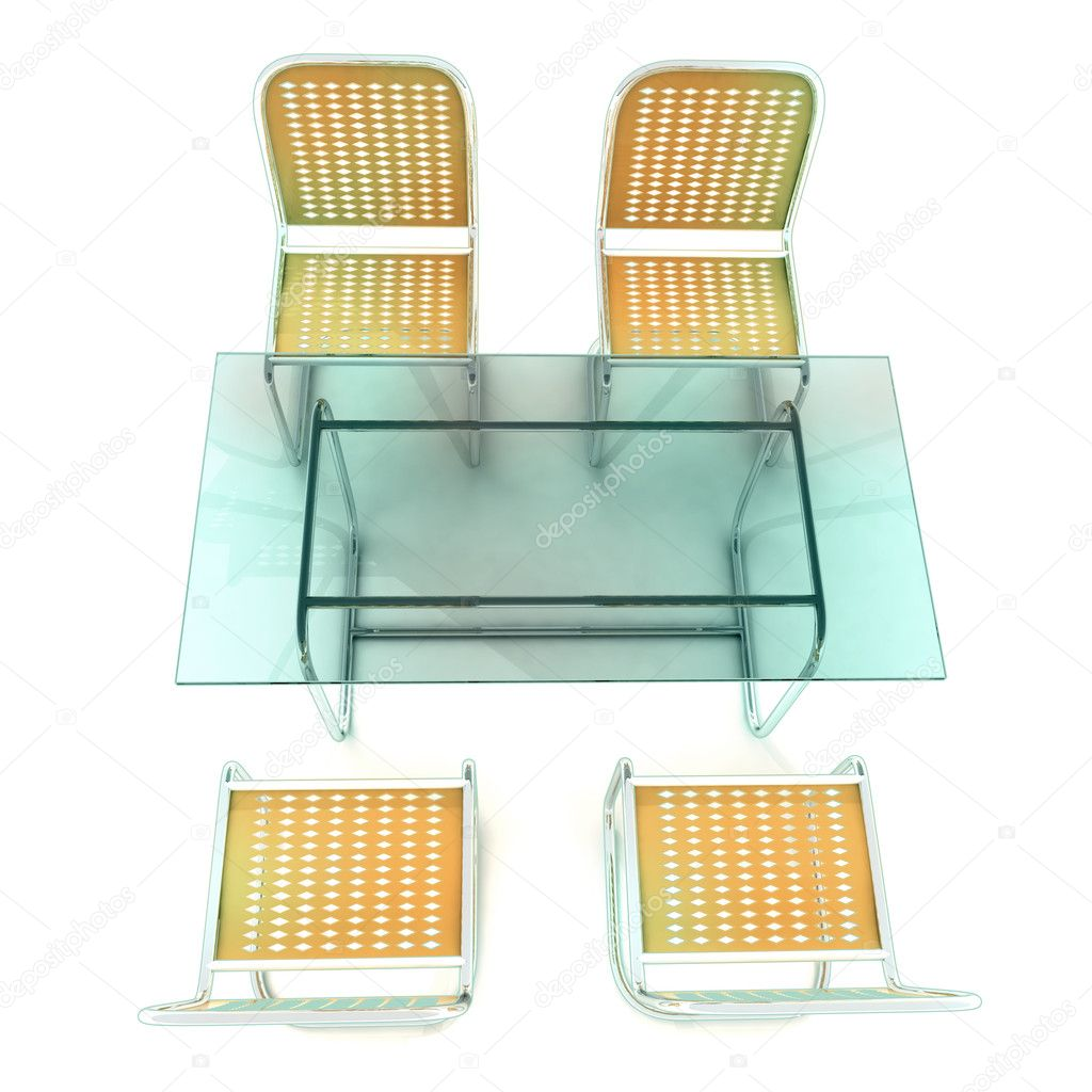 Glass table with four steel tube chairs from top view Stock