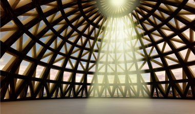 Beam of gods holy light in abstract architectural moder dome