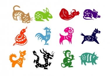 12 animals are used in the Chinese lunar calendar as symbols of the counting system stock vector