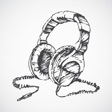 Sketched vintage headphones