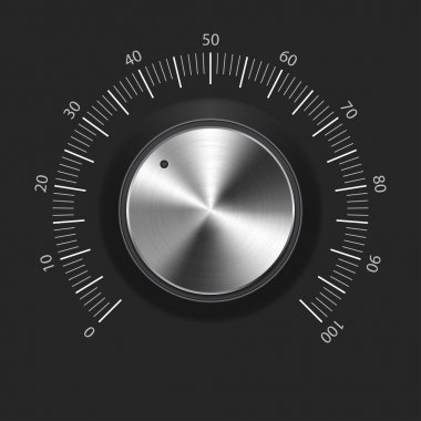 Volume button (music knob) with metal texture (chrome) and dark background