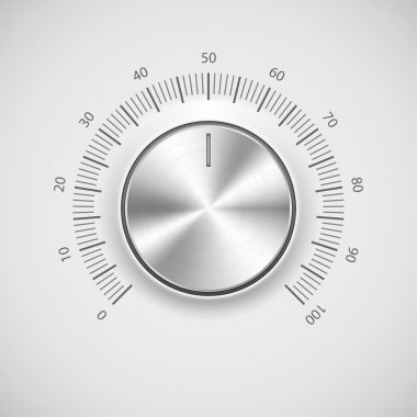 Volume button (music knob) with metal texture (chrome) and light background