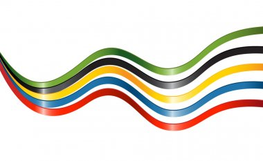 Ribbons in colors of the five continents
