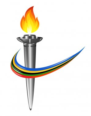 Olympic torch with the colors of the five continents