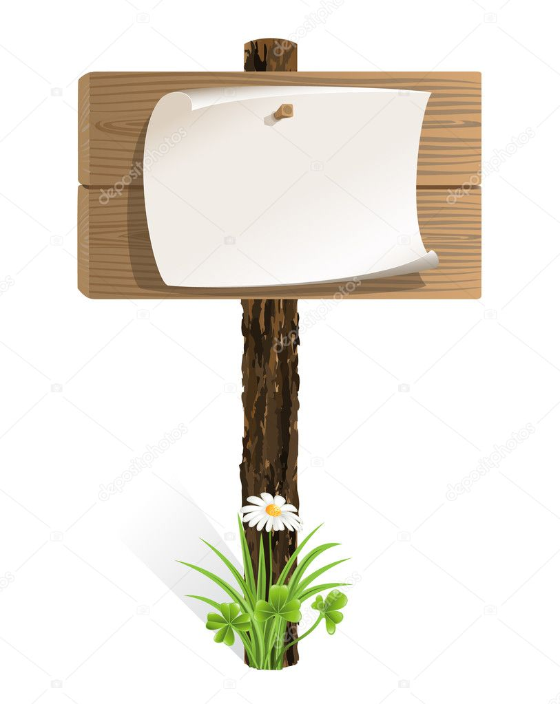 Blank wooden sign with paper wrapped and grass
