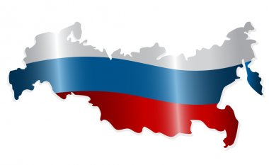 Map of the Russian Federation colored like the Russian flag. Vec