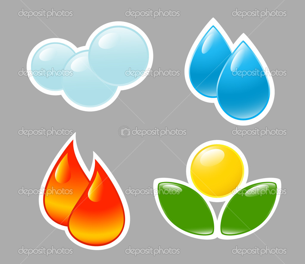 Four elements. Fire, water, air, ground.
