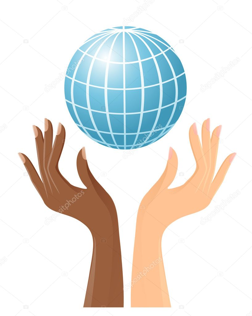 Black and white hands with globe