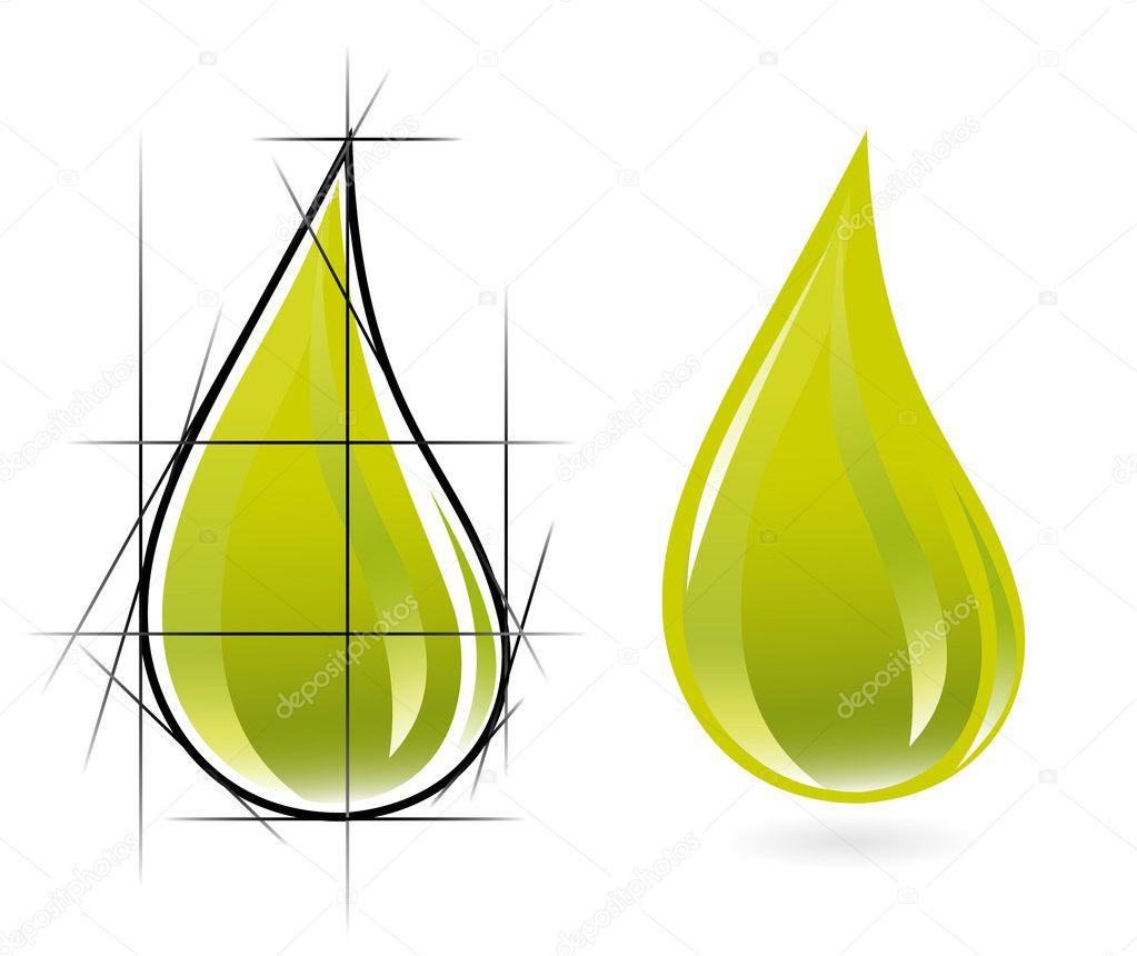Sketch of olive oil drop