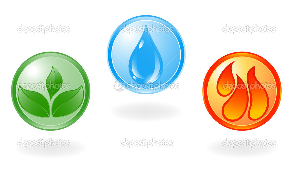 Plant, water and fire symbol. Vector Illustration