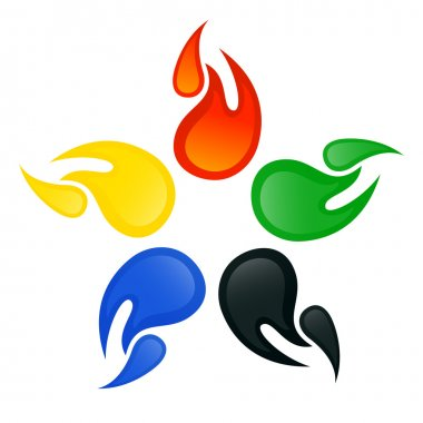 Olympic signs with the colors of the five continents. Vector-Ill