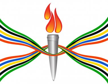Olympic torch with the colors of the five continents. Vector-Ill