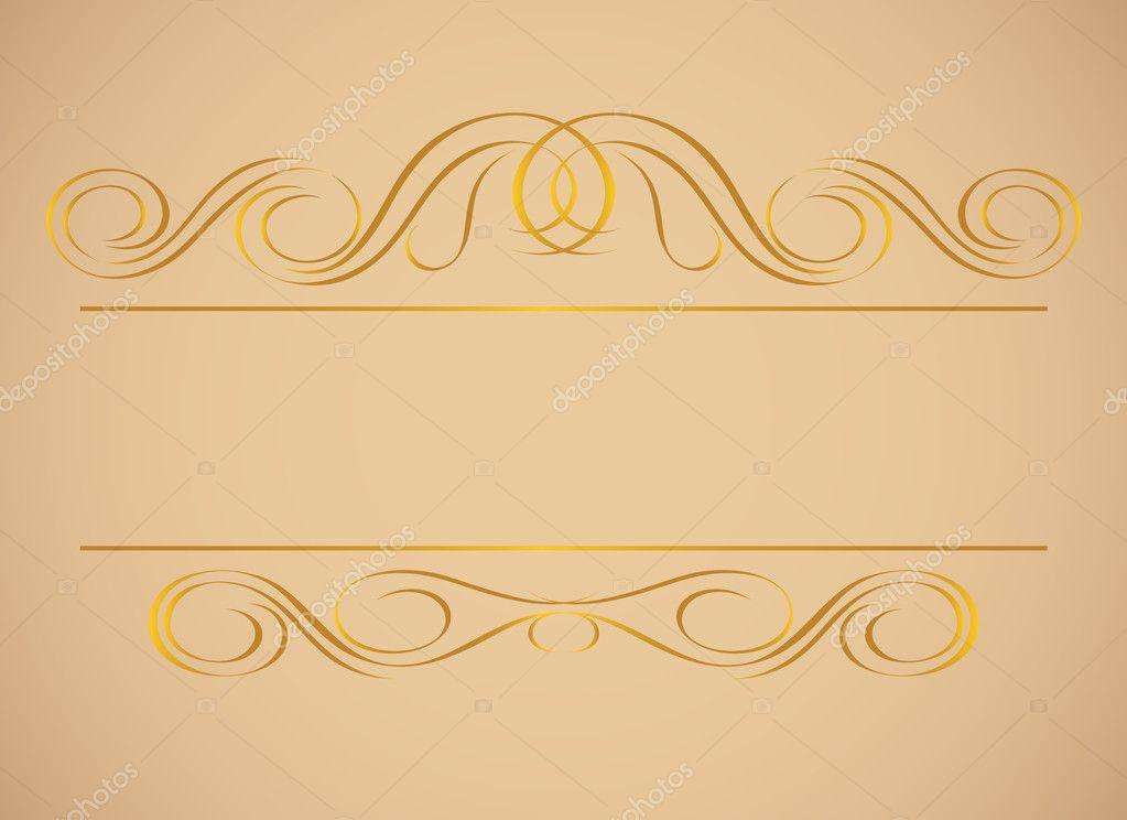Vintage frame in gold. Symmetric inward.