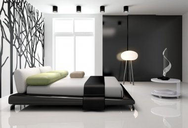 Minimalist bedroom interior