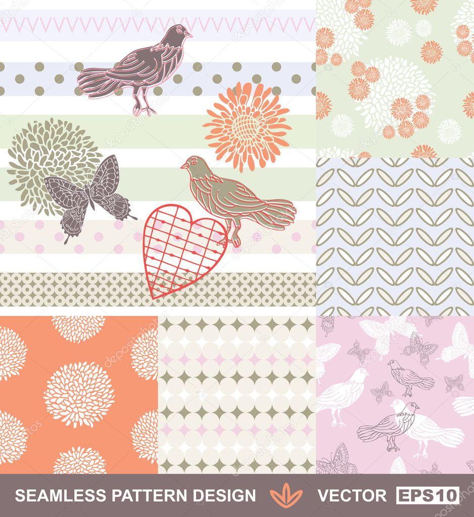 Tissu Sans Couture De Vecteur Style Retro Motif Papier Peint
